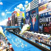 Leap of faith: People swim in the planned Dotonbori pool in Osaka's Shinsaibashi district in this image. | COURTESY OF CITY OF OSAKA