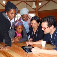 Nurturing leaders: Freshmen at the Asian Rural Institute talk about their home villages with one of the staff at the Christian academy, which offers agricultural training to Asians and Africans, in Nasushiobara, Tochigi Prefecture, on April 12. | KYODO