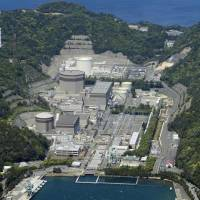 Idled for good: A Nuclear Regulation Authority panel said Wednesday that a fault running under reactor 2 (housed inside the octagonal structure) of the Tsuruga nuclear plant in Fukui Prefecture is active, effectively killing any chance that Japan Atomic Power Co. can restart the unit.  | KYODO