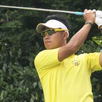 Major breakthrough: Hideki Matsuyama plays a shot during a regional qualifier for the U.S. Open at Otone Country Club in Bando, Ibaraki Pref., on Monday. Matsuyama won the event. | KYODO