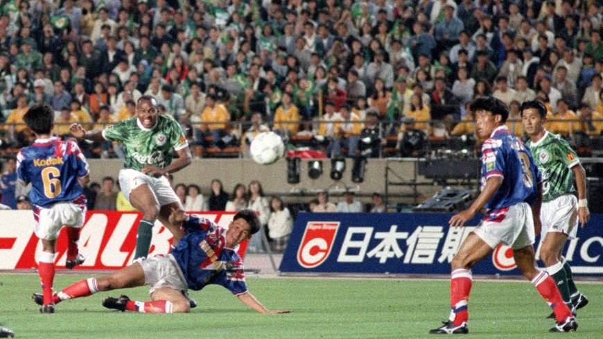 History-maker: Verdy Kawasaki's Hennie Meijer (second from left) scored the opening goal of the game, only for Yokohama Marinos to come back to win 2-1.