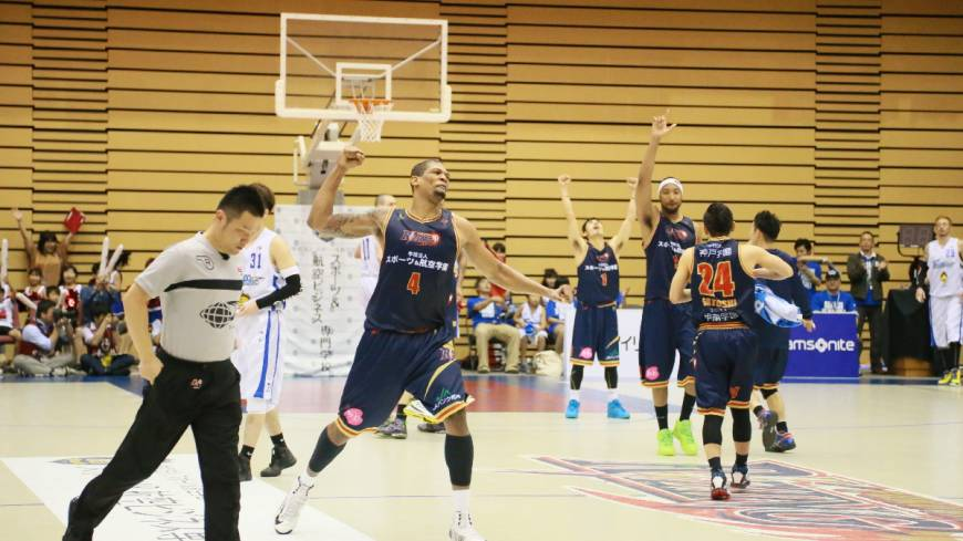 Celebration time: Julius Ashby (4) and his Rizing Fukuoka teammates react to their Western Conference semifinal series two-game sweep over the visiting Shimane Susanoo Magic on Sunday afternoon.
