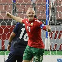 Good enough: Bulgaria's Ivan Ivanov celebrates after an own goal by Japan's Makoto Hasebe in the 70th minute in Toyota, Aichi Prefecture. on Thursday night. Bulgaria defeated Japan 2-0 in the international friendly. | KYODO
