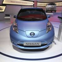 Weak current: A Nissan Leaf electric automobile sits on display at the 83rd Geneva International Motor Show in March. | BLOOMBERG