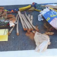 Hidden evidence: Federal agents have recovered fireworks found inside a backpack belonging to Boston bombing suspect Dzhokhar Tsarnaev from a landfill in New Bedford, Massachusetts. | AP