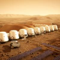 Like camping in Utah: An illustration prepared for Mars One, a Dutch nonprofit group raising funds for a landing in the 2020s, shows how a large colony on the planet might look. | THE WASHINGTON POST