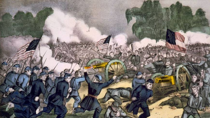 Harvest of death: The battle of Gettysburg on July 3, 1863, is shown in a lithograph published by Currier and Ives.