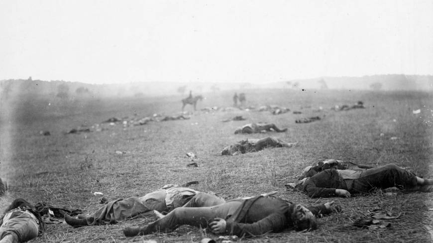 A photo by Timothy O'Sullivan, known as 'Harvest of Death,' shows the federal dead on the first day of battle.