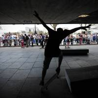 Watch this: A skateboarder performs tricks in an area beneath the Southbank Center in London on May 6. | AFP-JIJI