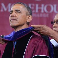 Avoid excuses, man up, Obama tells black graduates
