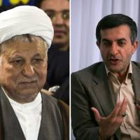 Out: Two-term former President Ali Akbar Hashemi Rafsanjani (left) and incumbent President Mahmoud Ahmadinejad's top aide, Esfandiar Rahim Mashaei, have been disqualified from Iran's June 14 presidential election. | AFP-JIJI
