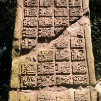 Linguistic puzzle: Maya hieroglyphs are seen carved on an ancient stela monument at the site of Dos Pilas, Guatemala. | DAVID STUART