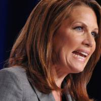 Stepping down: Minnesota Rep. Michele Bachmann speaks to supporters in Washington last September. | AFP-JIJI