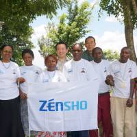 Top, Zensho employees pose with sanitary consultants for the mother-baby health program in Rombo, Tanzania, in March. | ZENSHO HOLDINGS CO.
