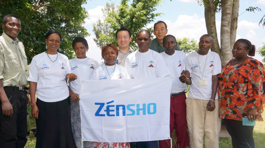 Top, Zensho employees pose with sanitary consultants for the mother-baby health program in Rombo, Tanzania, in March.
