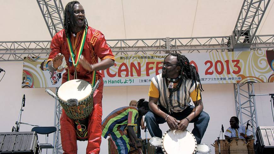 Percussionists perform at the African Festa 2013, held on the occasion of TICAD V, in the conference's host city of Yokohama last month.
