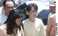 Prodemocracy leader Aung San Suu Kyi arrives at her party's headquarters after being released from house arrest last May.