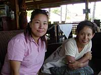 Volunteers in East Timor: nurse Miyako Uramoto (left) and Theresa Nao Tsujimura, a fisheries project worker.