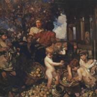 'Cider Press' (1902), oil on canvas: Frank Brangwyn's vibrant depiction of workers crushing apples to make cider. | © DAVID BRANGWYN, LISS FINE ART PHOTO / LISSFINEART.COM
