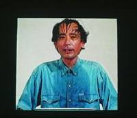 Personal favorites: Shinji Kohmoto featured in Tatsuo Miyajima's video installation 'Counter Voice with Nachi Falls' (1996) (above) and Nojima Yasuzo's 'Busshukan' (1930), one of Kohmoto's favorite artworks. | COURTESY OF MUSEUM OF MODERN ART, KYOTO