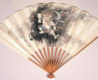Unusual fan: 'God of Thunder' (early 19th century) by Sakai Hoitsu deviates from the common style of painting seasonal scenery. | COURTESY OF OTA MEMORIAL MUSEUM OF ART