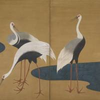Rimpa glory: Suzuki Kiitsu 'Cranes' one of a pair of two-paneled folding screens (19th century) | THE FEINBERG COLLECTION