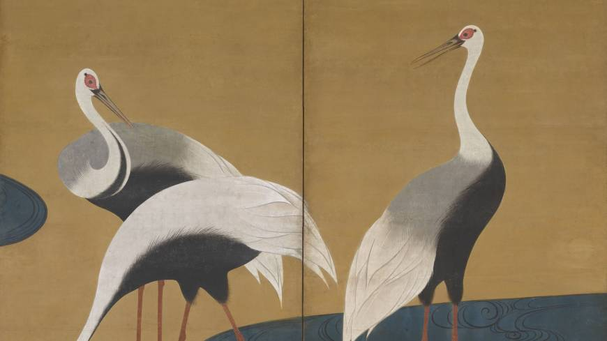Rimpa glory: Suzuki Kiitsu 'Cranes' one of a pair of two-paneled folding screens (19th century)