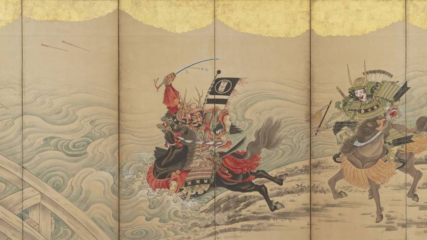 Soga Shohaku's 'Race at the Uji River,' a six-paneled folding screen, 18th century)
