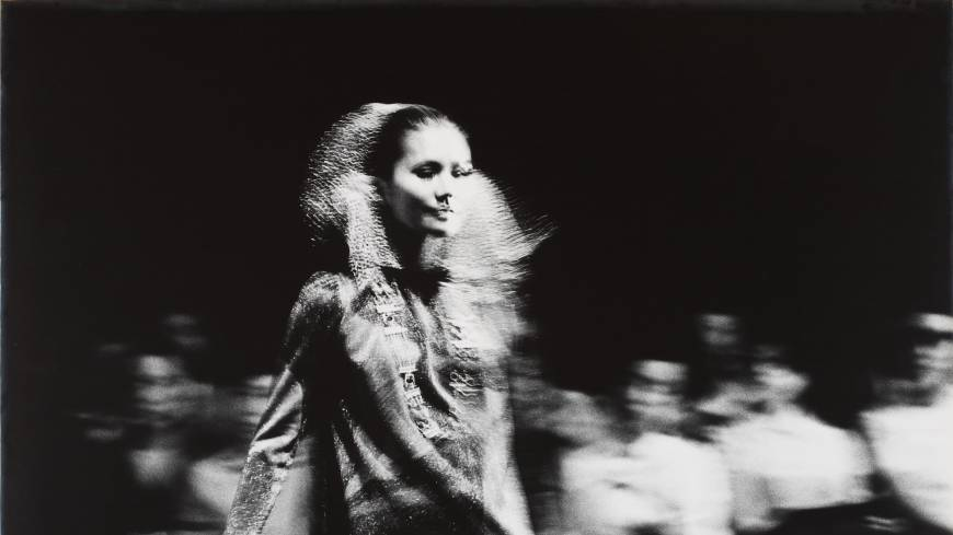 A model on a runway, from Yutaka Takanashi's series 'Towards the city,' published in Provoke No.1 (1968).