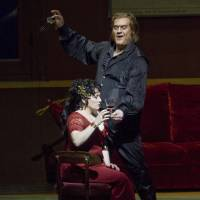 Deadly deal: Bryn Terfel (right) plays Scarpia and Patricia Racette, the title character, during an April 14, 2010, performance of the Puccini opera 'Tosca' at the Metropolitan Opera in New York. The reviewer below writes that the chief torturer in 'Kiku's Prayer' makes the same bargain with Kiku as Scarpia did with Tosca. | BLOOMBERG