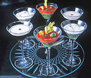Hors d'oeuvres and desserts also come in elegant glassware.