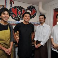 Lisbon on a prayer: Owner-chef Koji Sato (second from left) and his team have made an authentic homage to the food of Portugal at his Tokyo restaurant, Cristiano's. | YOSHIAKI MIURA PHOTOS