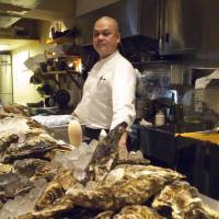 Happy as a clam: Chef Toshihiro Matsushita can usually be found at the original branch of Fish House Oyster Bar, also in Ebisu.