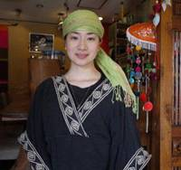 Good vibes: Motoko Yamada, the manager of Thai restaurant Rahotsu, says she feels 'protected' by Nara's symbols of spirituality.