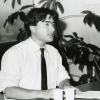 At a J-Wave mike in 1989.