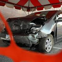 Full frontal: A wrecked Toyota Prius in Harrison, New York State, in March 2010. By then there had been a glut of claimed instances of the company's cars suddenly speeding up uncontrollably — leading to the recall of more than 8 million vehicles. | AP