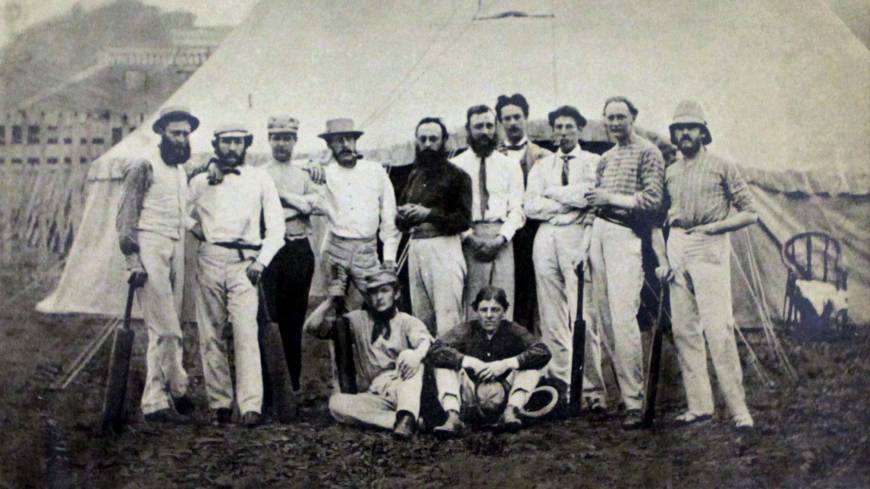 Motley crew: The Shore team of Brits who took part in Japan's first cricket game, in Yokohama on June 25, 1863, with storied James Campbell Fraser second from right.