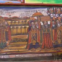 God's will: The tale behind this picture in the Ethnological Museum in Addis Ababa tells how it was that Menelik I, son of the Queen of Sheba and King Solomon, came to return from a visit to Jerusalem with the original Ten Commandments on tablets of stone in a chest. | LESLEY DOWNER PHOTO