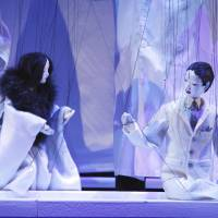 Strings attached: A scene from 'The Lady Aoi' depicts Yasuko Rokujo (left), the former lover of Lady Aoi's husband, Hikaru (right). | JUN ISHIKAWA