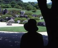 Entranced: A visitor to the Adachi museum regards a garden through a viewing window.