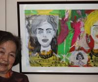 Everlasting love: Nobuko Tajima and a painting by her son, Nobuo.