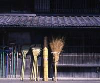 Traditional household items (right) on sale in the old Gozaku quarter.