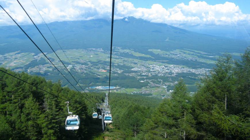 Riding high: Fujimi and the Yatsugatake range seen from the Mt. NYUKASA ROPEWAY.