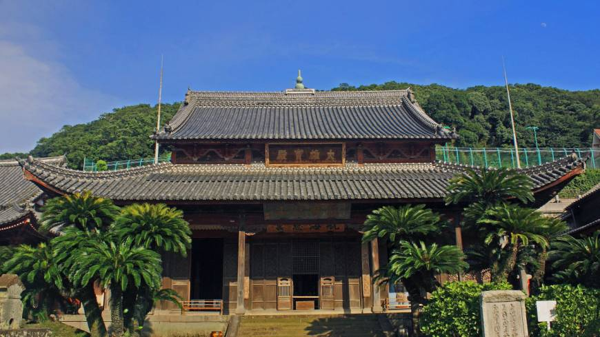 China town: The Chinese-style main hall of Kofukuji, the earliest Chinese temple in Nagasaki.