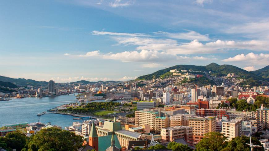 Beautiful bay: Nagasaki and its harbor as seen from the vantage point of Glover Garden.