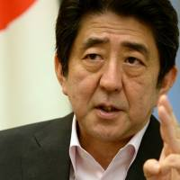 Ask away: Prime Minister Shinzo Abe is interviewed Thursday at the prime minister's office. | AFP-JIJI