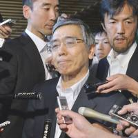 Playing it cool: Bank of Japan Gov. Haruhiko Kuroda is surrounded by reporters after meeting with Prime Minister Shinzo Abe on Thursday. | KYODO