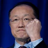 Up with people: World Bank president Jim Yong Kim speaks about eliminating extreme poverty at the U.S. Global Leadership Coalition conference in Washington on Tuesday. | AFP-JIJI