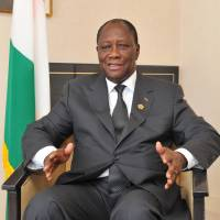 Coast to coast: Alassane Ouattara, president of Cote d'Ivoire, is interviewed in Yokohama on Monday. | YOSHIAKI MIURA