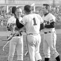 Hardcore: Former Yomiuri Giants manager Tetsuharu Kawakami, seen here with Shigeo Nagashima and Sadaharu Oh, was criticized for his tough training methods after young pitcher Toshiko Yuguchi suffered a nervous breakdown and died in 1973. | KYODO